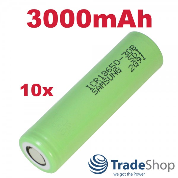 10x Samsung Li-Ion Akku Industrie-Zelle ICR18650-30B 3000mAh 3,6V/3,7V