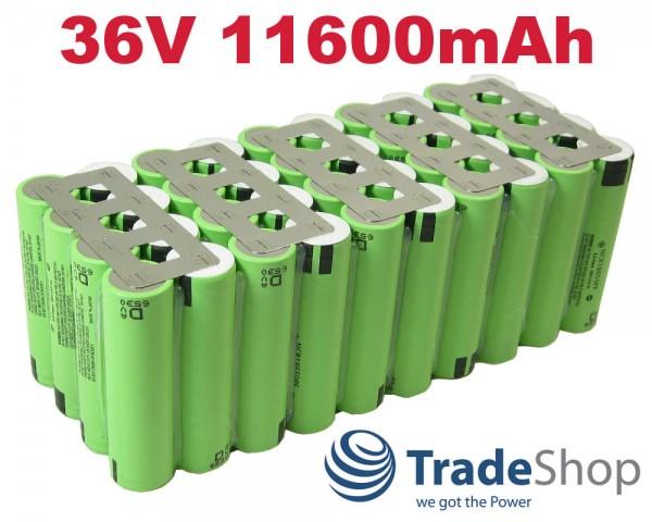 Lithium-Ion Akkupack 10S4P NCR18650 PF 36V 11600mAh 48A Entladestrom
