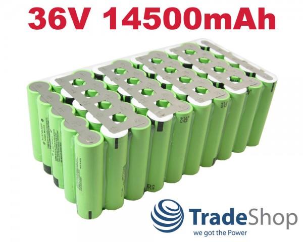 Lithium-Ion Akkupack 10S5P NCR18650 PF 36V 14500mah 48A Entladestrom
